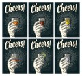 Cheers lettering. Hand hold glass brandy, tequila, gin, rum, whiskey