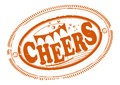 Cheers rubber stamp with greeting one color place for your text on the outskirts Royalty Free Stock Photography