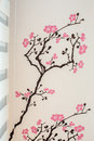 Cheery blossom tree sticker wallpaper Royalty Free Stock Photo