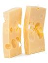 Cheese blocks isolated on white background Royalty Free Stock Photo