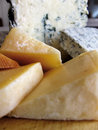 Cheese blue cabrales and others in wedges from asturias spain Stock Photography