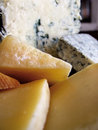 Cheese blue cabrales and others in wedges from asturias spain Royalty Free Stock Photography
