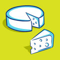 Cheese blue series vector illustration of slice and whole Royalty Free Stock Image