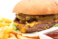 Cheese burger and chips Royalty Free Stock Photo
