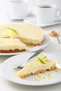 Cheese cake with lime Royalty Free Stock Photo