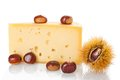 Cheese and chestnuts Royalty Free Stock Images