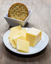 Cheese and crackers a plate bowl of for snacking Stock Images