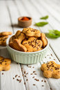 Cheese crackers sprinkled with flax seed Royalty Free Stock Photo
