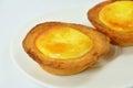 Cheese custard tart on dish Royalty Free Stock Photo