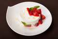 Cheese dessert with strawberry Royalty Free Stock Photo
