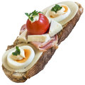 Cheese Egg Ham and Cherry Tomato Sandwich Isolated Royalty Free Stock Photo