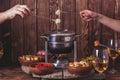 The cheese fondue Royalty Free Stock Photo