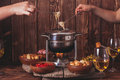 The cheese fondue Royalty Free Stock Photo