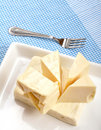 Cheese with fork Stock Photo