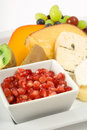 Cheese and fruit platter Stock Photography