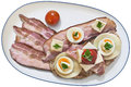 Gourmet Sandwich And Cherry Tomatos Served On Porcelain Platter With Three Extra Bacon Rashers Isolated On White Background Royalty Free Stock Photo