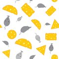 Cheese and mouse seamless texture Royalty Free Stock Photo