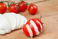 Cheese mozzarella with tomato Stock Photo