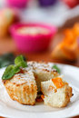 Cheese muffins with pumpkin pieces of inside Stock Photos