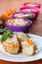 Cheese muffins with pumpkin pieces of inside Royalty Free Stock Photos