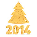 Cheese new year symbols tree and on white background Stock Images
