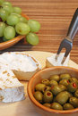 Cheese and olives Stock Image