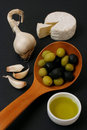 Cheese and olives breakfast Stock Images