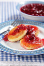 Cheese pancakes with jam Royalty Free Stock Photo