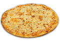 Cheese pizza on white background Royalty Free Stock Photo