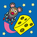Cheese planet a cartoon illustration of a mouse in astronaut suit who flew from a like Stock Photo