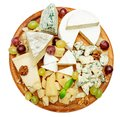 Cheese plate with Assorted cheeses Camembert, Brie, Parmesan blue cheese, goat Royalty Free Stock Photo