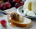 Cheese on a plate and honey, ripe grapes, bread,dipper, napkin on a light background Royalty Free Stock Photo