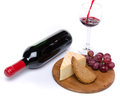 Cheese and red wine isolated on white Royalty Free Stock Images