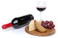 Cheese and red wine isolated on white Stock Images