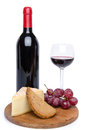 Cheese and red wine isolated on white Royalty Free Stock Photography
