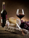 Cheese salami grapes and  wine Stock Photography