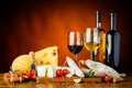 Cheese, sausages and wine Royalty Free Stock Photo
