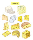 Cheese set hand drawn illustrations Royalty Free Stock Photography