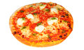 Cheese tomato pizza mozzarella and pesto on white Royalty Free Stock Image