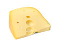 Cheese triangle edam on white background Royalty Free Stock Photo