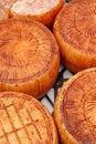 Cheese wheels on a local farmers market Royalty Free Stock Photo