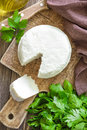 Cheese white soft on a board Royalty Free Stock Photos