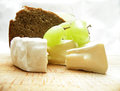 Cheese with wine and bread food background Royalty Free Stock Image