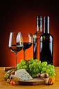 Cheese wine and grapes still life with Royalty Free Stock Photography