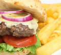Cheeseburger & fritadas Imagem de Stock Royalty Free