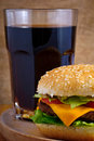 Cheeseburger and cola Royalty Free Stock Images