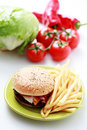 Cheeseburger and french fries Stock Image