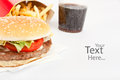 Cheeseburger, French Fries and Cola Royalty Free Stock Images