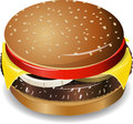 Cheeseburger illustration tasty on a white background Stock Image