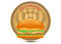 Cheeseburger label on a white background Royalty Free Stock Image